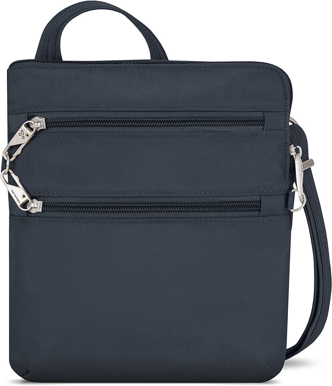 Travelon Anti-Theft Classic Slim Dbl Zip Crossbody Bag, Midnight, 9 x 10.5 x 1