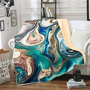Fluid Art Flannel Fleece Throw Blanket,SKOLOO Warm Fluffy Cozy Soft TV Bed Abstract Painting Natural Marble Pattern Blanket Comfy Microfiber Velvet Plush Movie Watching Throw Gift,Dark Cyan 50
