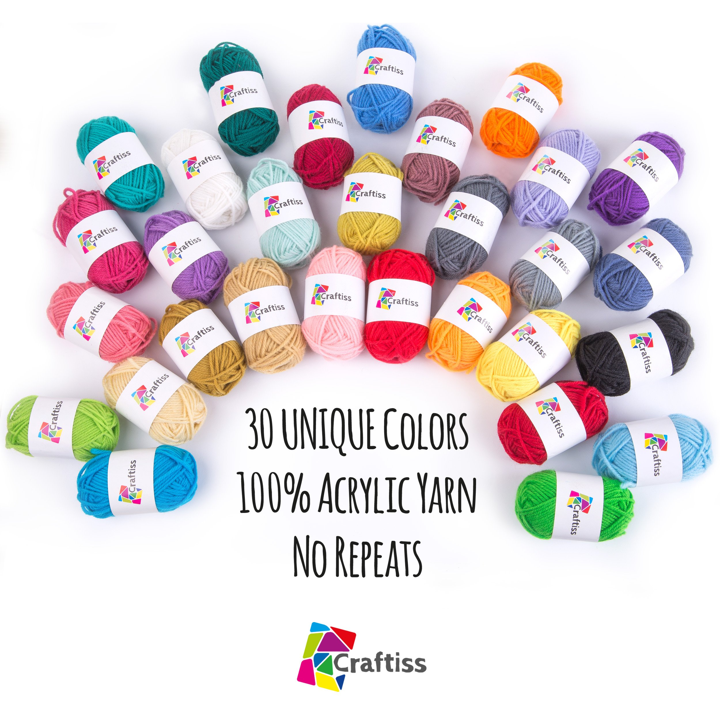 Craftiss 30 Unique Colors Acrylic Yarn Skeins ~ Bulk Yarn Kit ~ 1300 yards ~ Perfect for Any Knitting and Crochet Mini Project by Craftiss (Image #2)