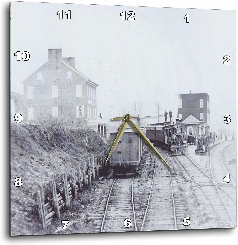 3dRose DPP_62578_3 1863 アメリカ中電車の写真 南北戦争壁時計 15 x 15インチ
