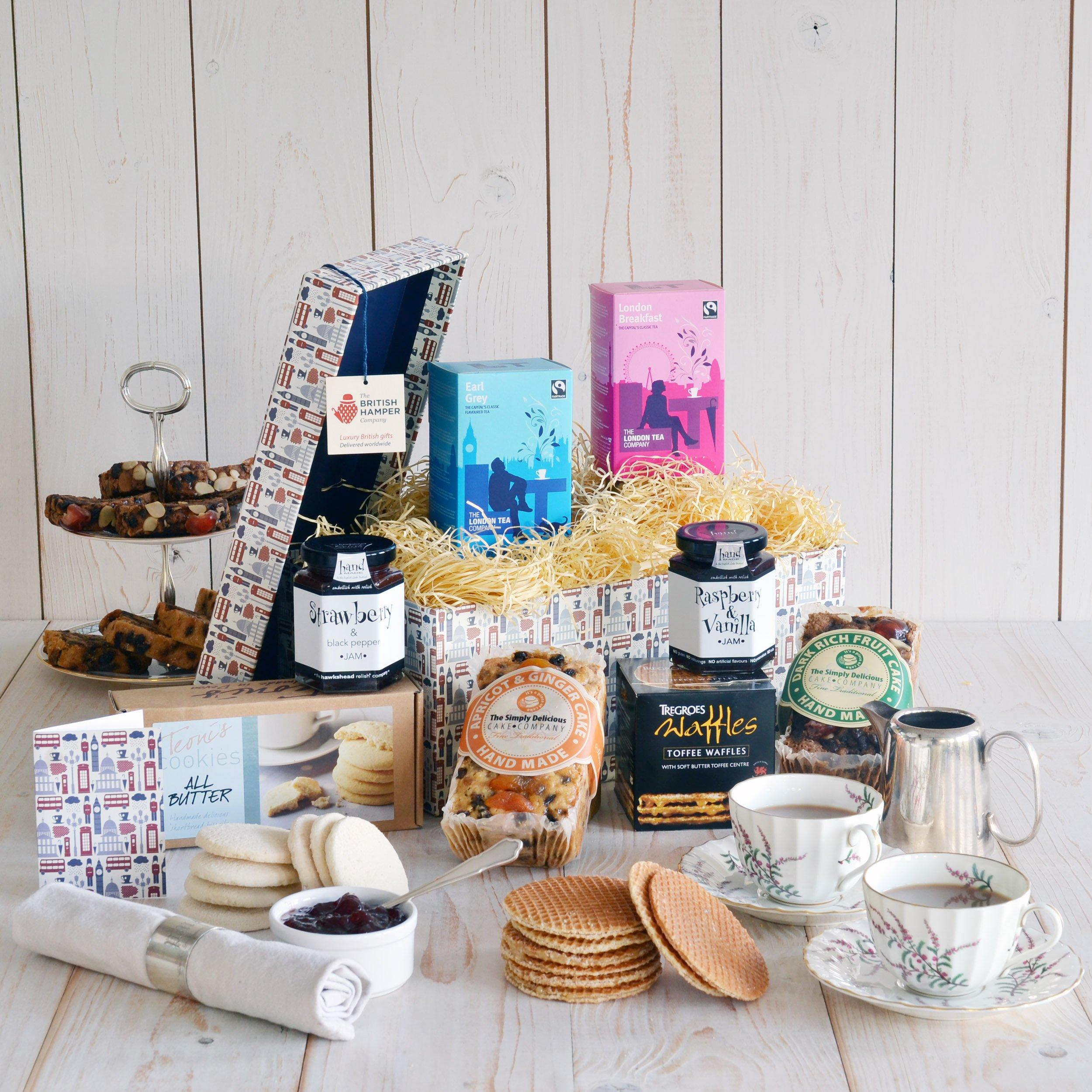Gourmet Tea Gift Basket - Gift Card Included - British Tea & Cake Gift Basket