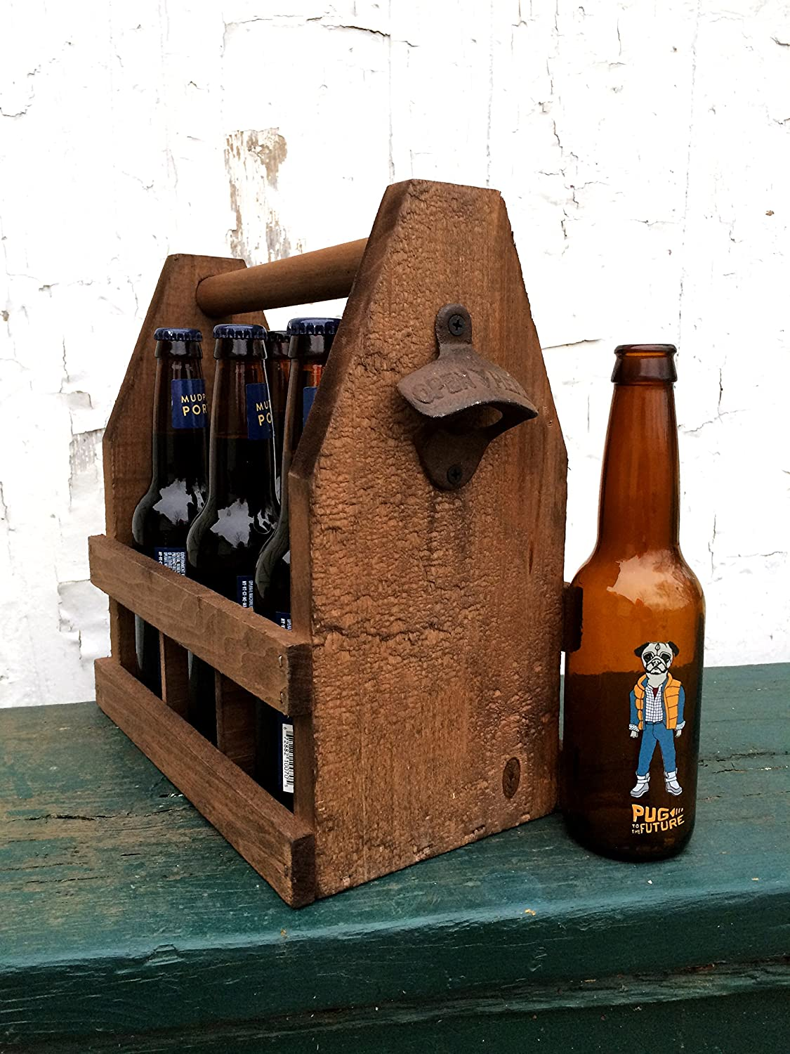 Rustic Wooden 6 Pack Beer Tote Made in USA