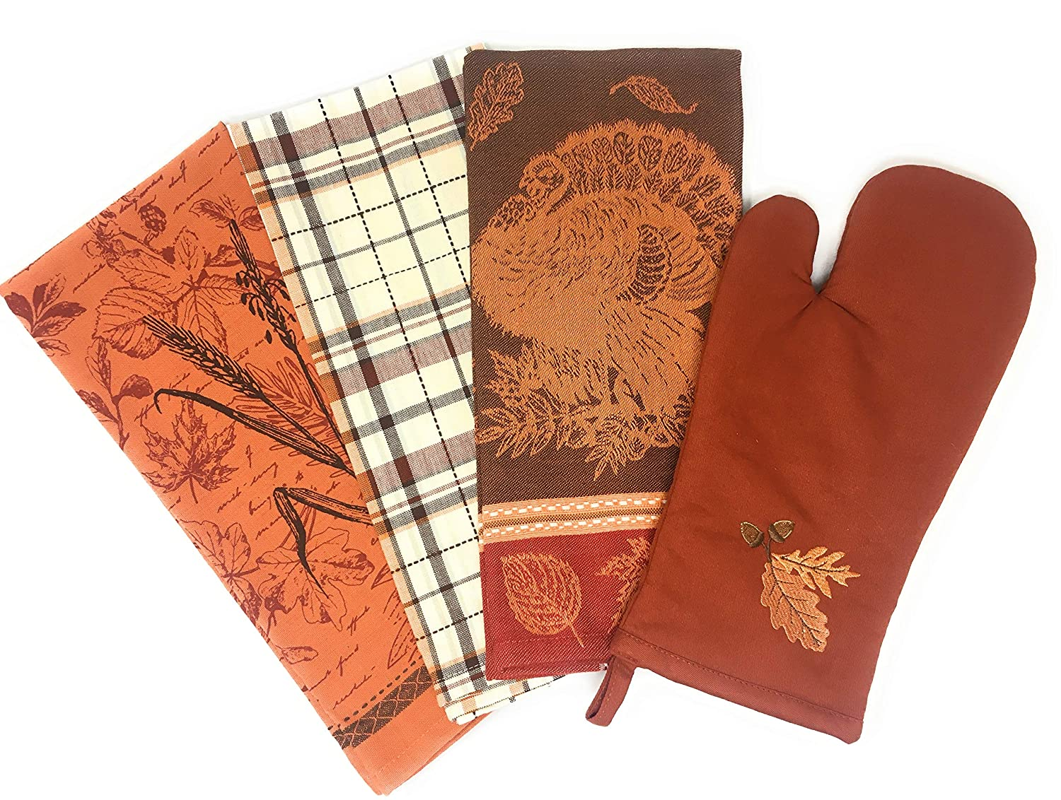 Quality Jacquard Thanksgiving Dish Towels and Oven Mitt (Set of 4) in Beautiful Fall Colors