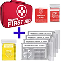 Swiss Safe Bundle & Save: 2-in-1 First Aid Kit and 4-Pack Silver Emergency Blankets
