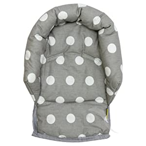 UNIVERSAL Infant  Baby  Toddler car seat , stroller head support pillow (Soft Cotton) (Spotty/ grey)