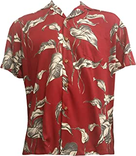 product image for LauLau Men's Hawaiian Aloha Rayon Shirt in Red - 3X