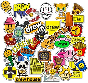 Drew House Sticker 80 PCs Set Panda Shark Smiley Face Popcorn Soda Decal for Laptop Hydro Flask Water Bottle Car Cup Computer Guitar Skateboard Luggage Bike Bumper, Kid Gift