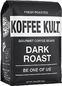 Koffee Kult Dark Roast Coffee Beans - Highest Quality Gourmet - Whole Bean Coffee - Fresh Roasted Coffee Beans, 32oz