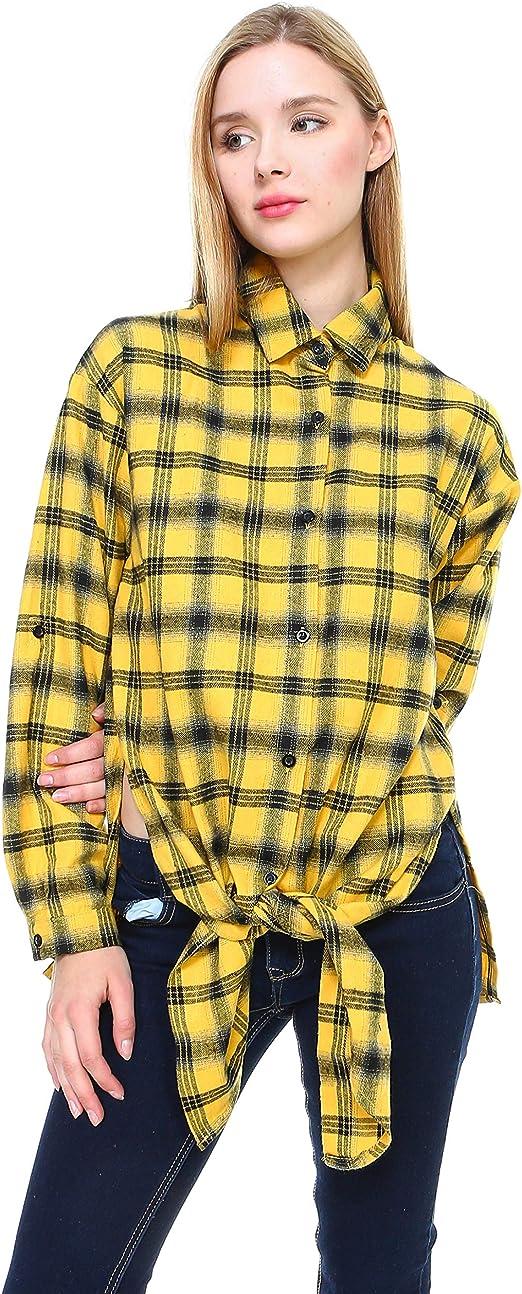 Melody Con Botones De Manga Larga Camisa De Tela Escocesa ...