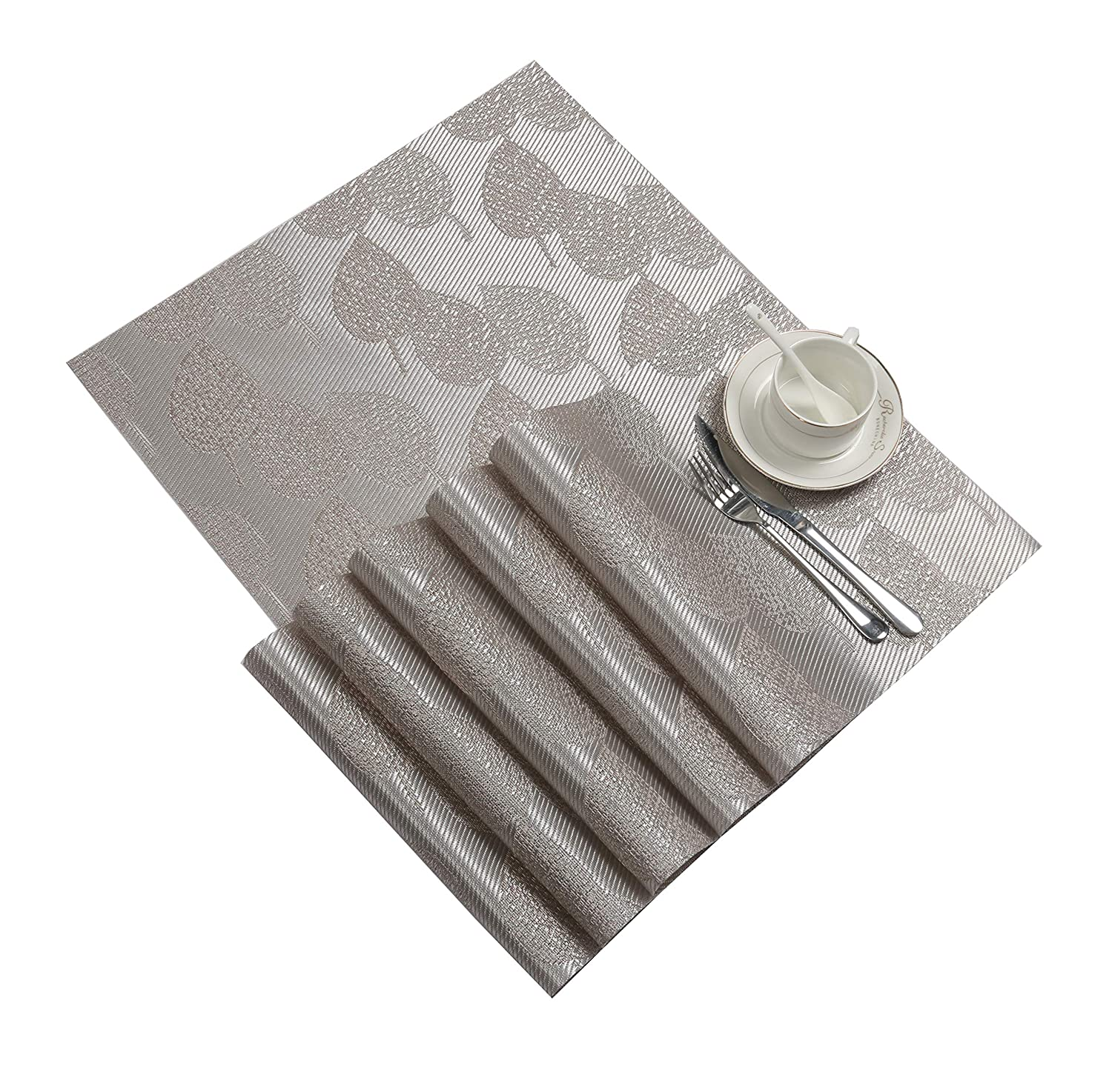 SHACOS Placemats for Dining Table Set of 6 Woven Vinyl Placemats Heat Resistant Kitchen Table Mats (6, Silver Leaf)