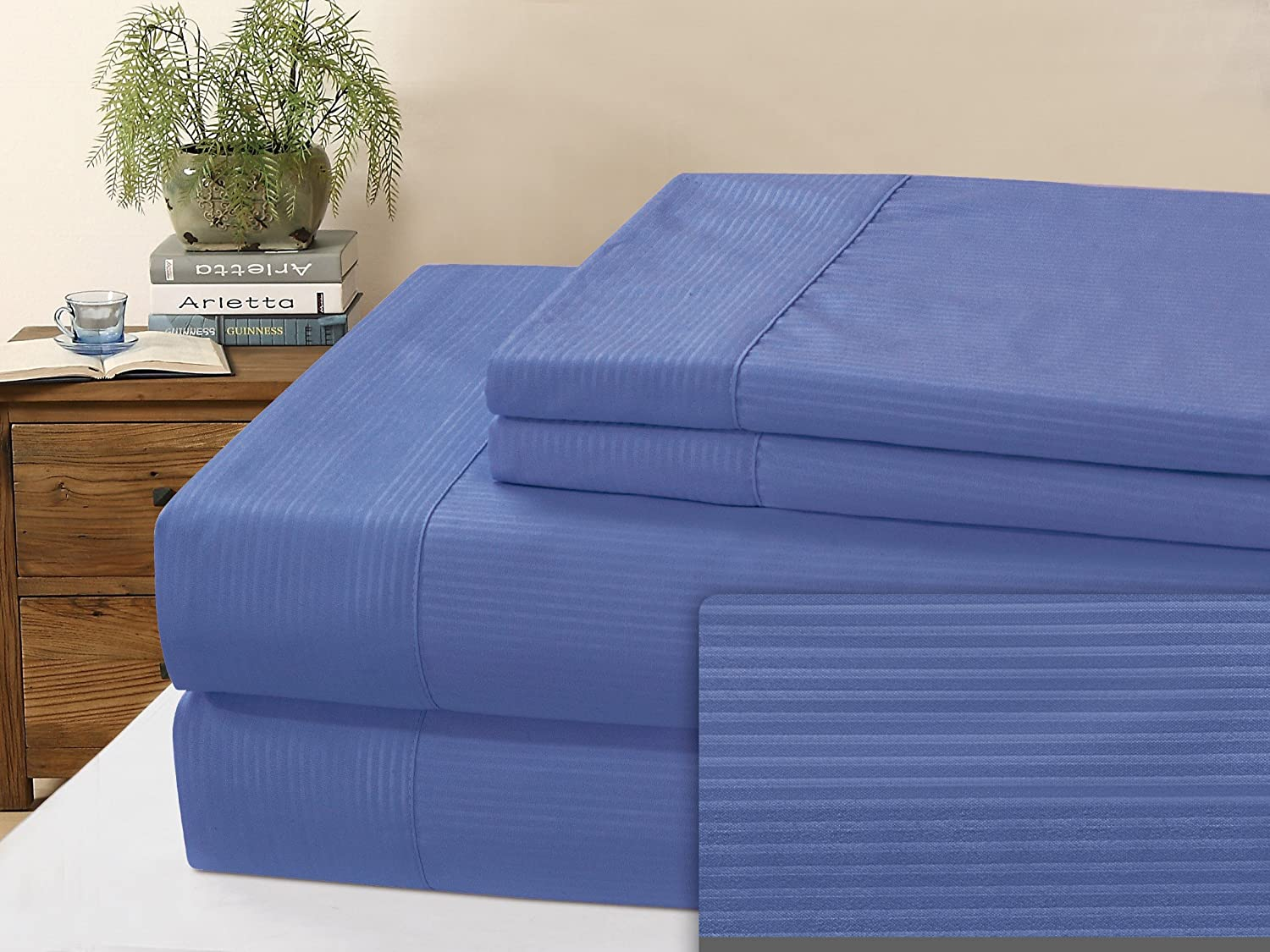 Blue King Imperial Collection Microfiber Pin Stripe Sheet Set