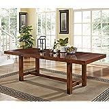 "WE Furniture Walker Edison 96"" Solid Wood Dark Oak Dining Table"