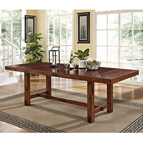 Walker Edison 96u0026quot; Solid Wood Dark Oak Dining Table