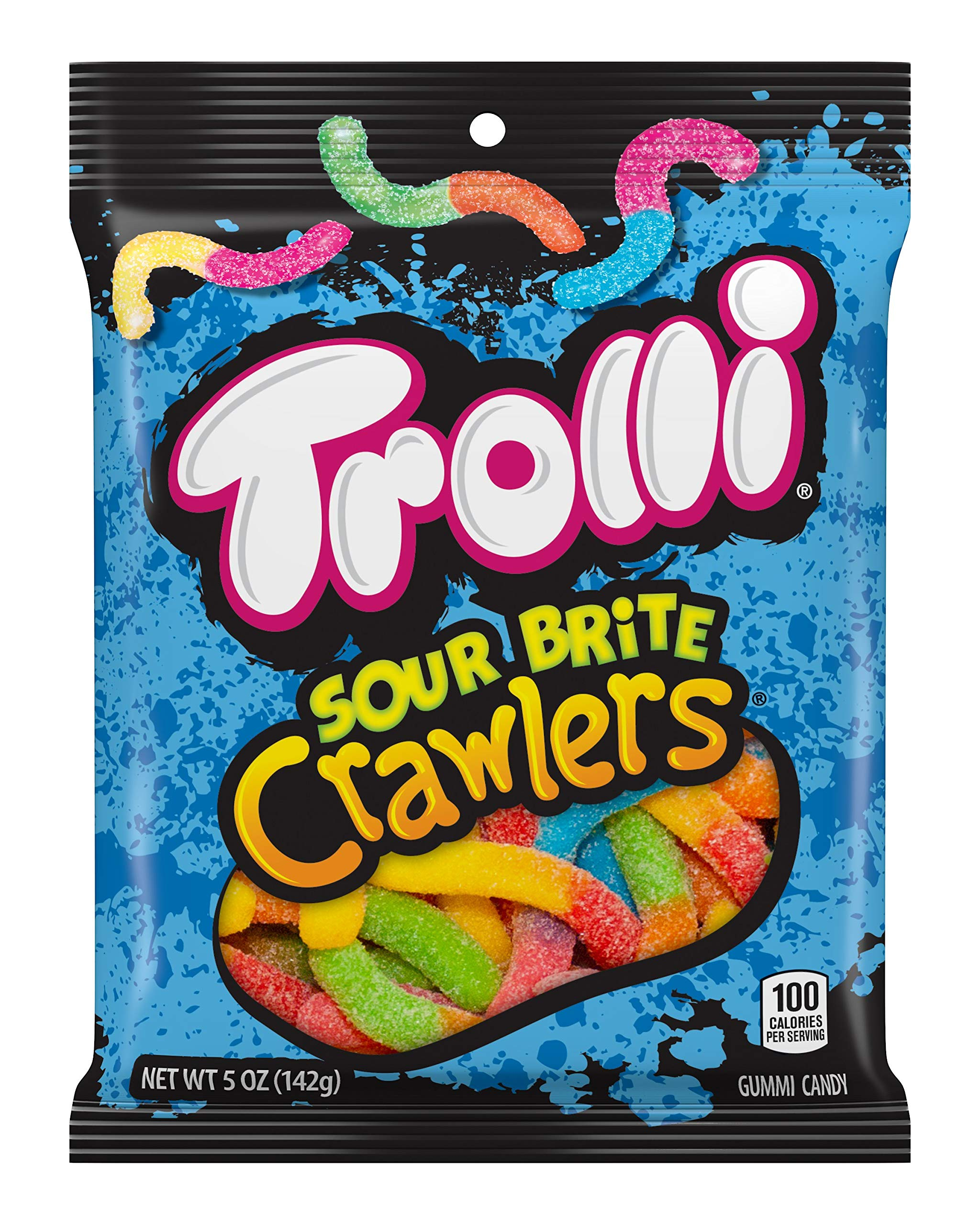Trolli Sour Brite Crawlers Gummy Candy, 5 Ounce Bag, Pack of 12 by Trolli