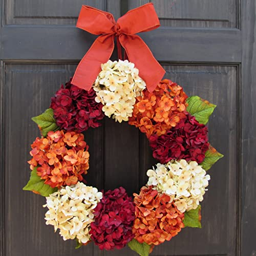 Captivating Artificial Summer And Fall Hydrangea Wreath For Front Door Decoration; Red  / Cream / Orange