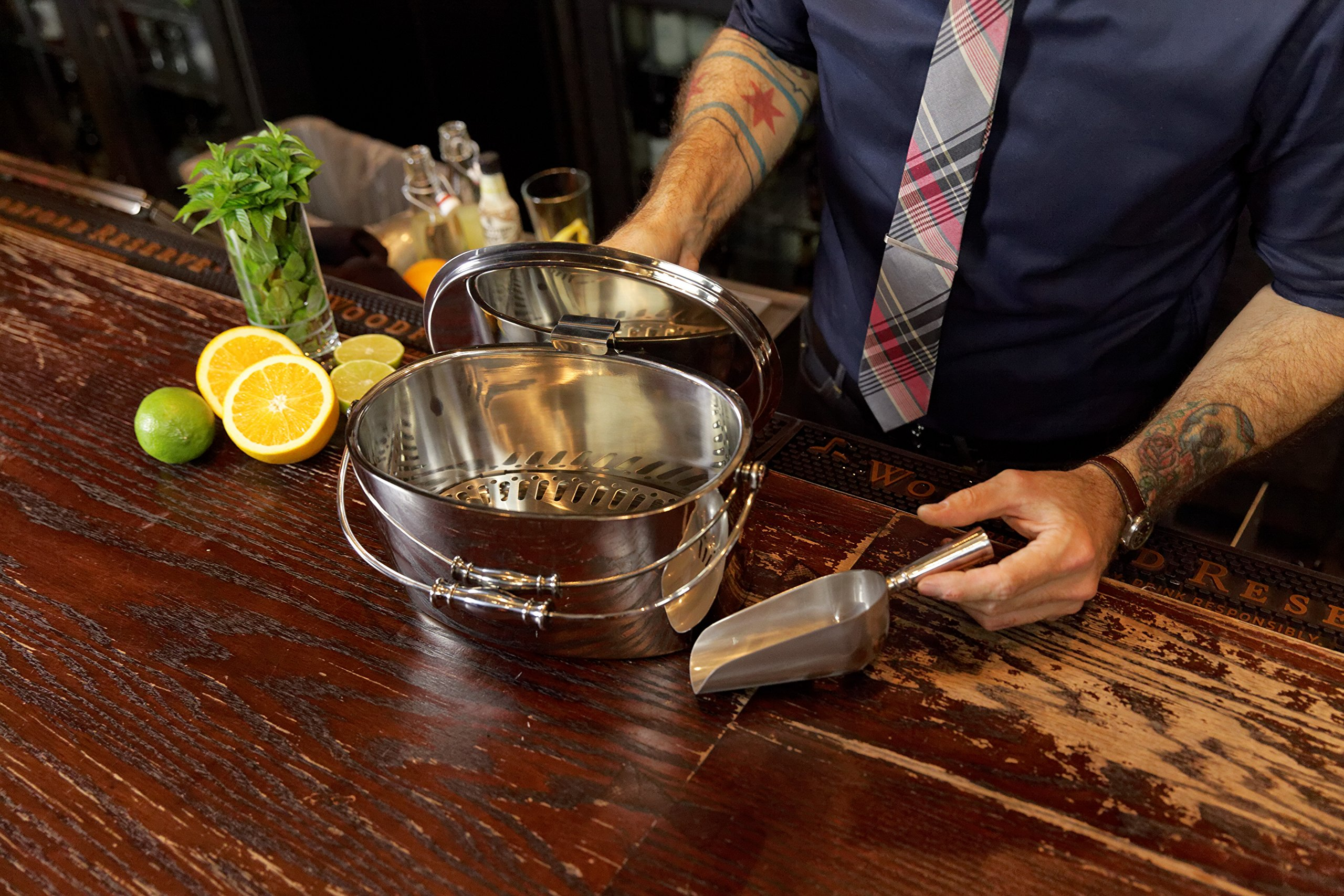 Crafthouse by Fortessa Professional Metal Barware/Bar Tools by Charles Joly, 12'' x 5.25'' Stainless Steel Ice Bucket with Handle and Drain Tray by Crafthouse by Fortessa (Image #3)