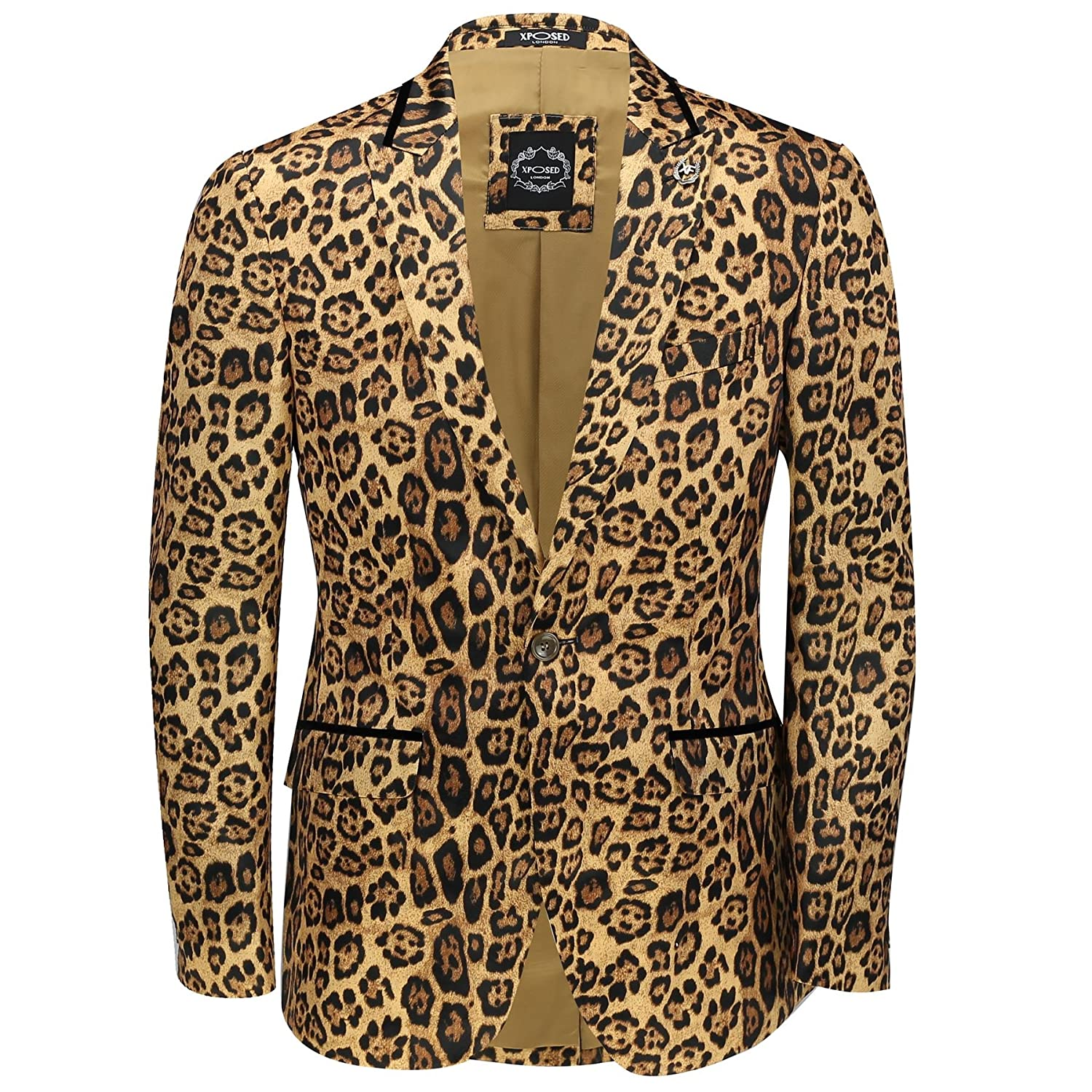 Mens Leopard Rosette Deep Gold Printed Italian Designer Suit Jacket Fitted Blazer XPOSED