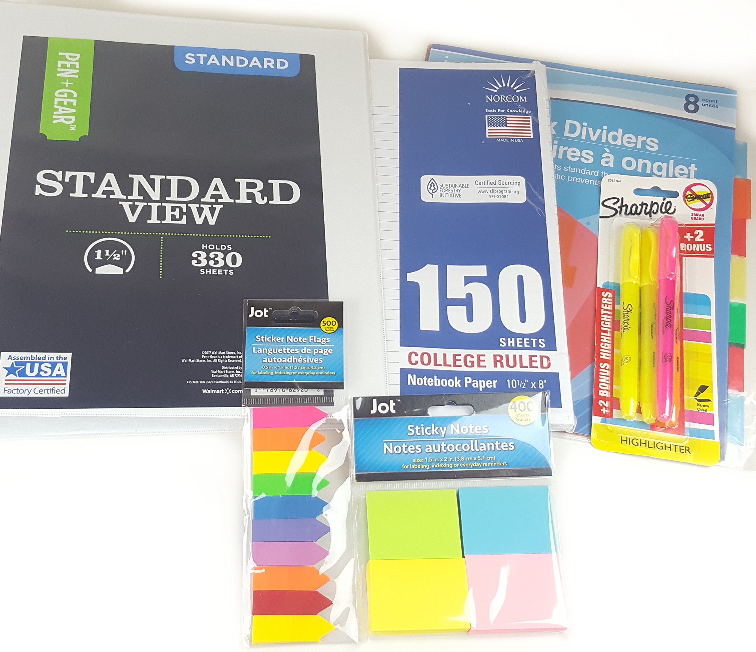 "School Supplies White Binder Set! Bundle with 1.5"" Binder, Dividers, Sticky Notes, Sticky Flags, Paper, Highlighters (6 Items)! Organization for Students, Teachers, and College Students!"