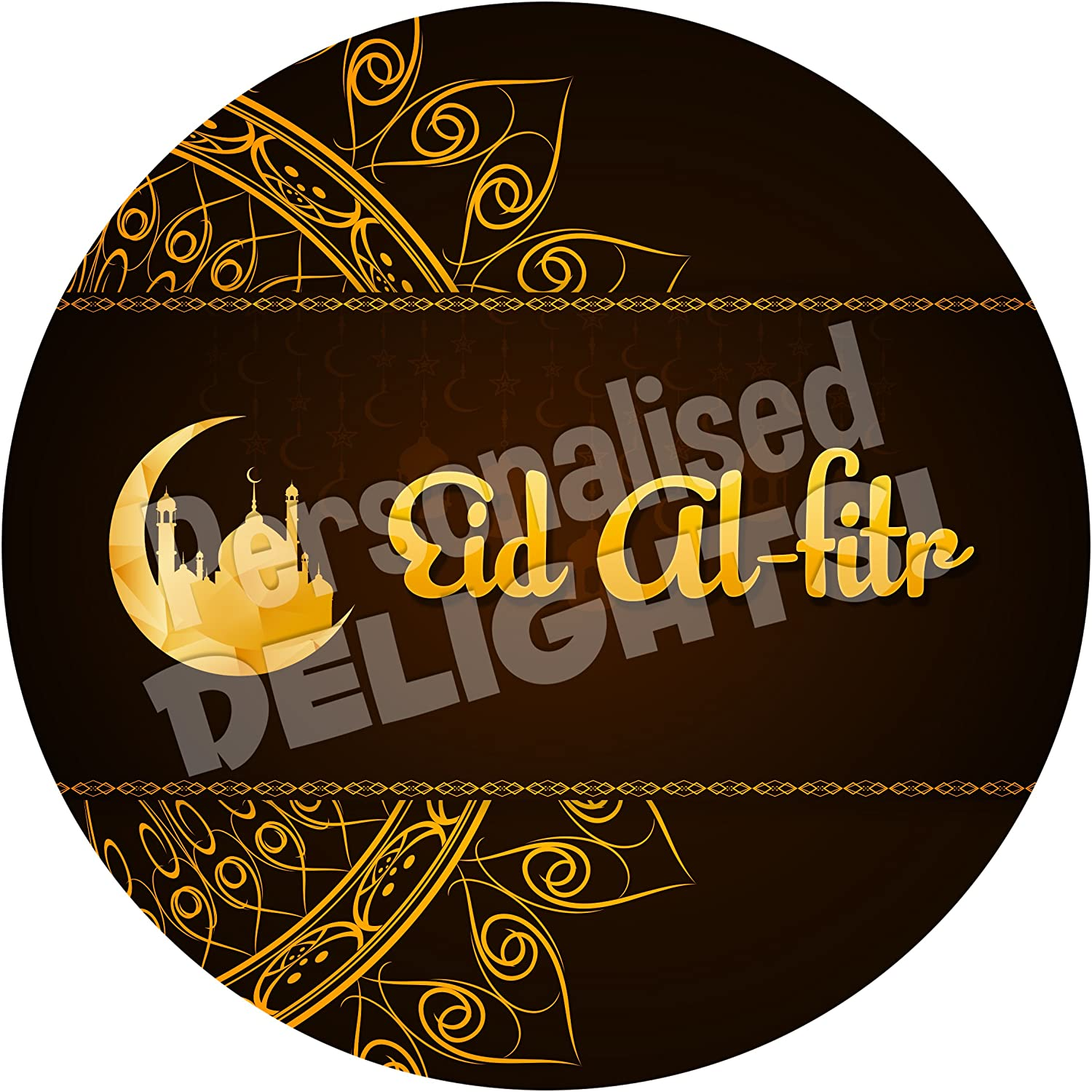 Eid Al-Fitr Gold Sticker Labels NON PERSONALISED Seals Ideal for Party Bags Favours Bottles Presentations Gift Boxes Crafts Sweet Cones Jars