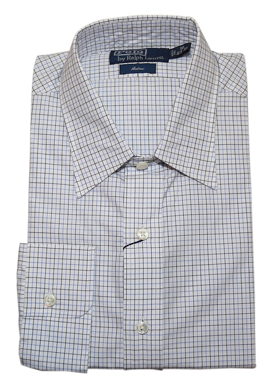 Polo Ralph Lauren Mens Andrew Cotton Dress Shirt Navy White Stripe