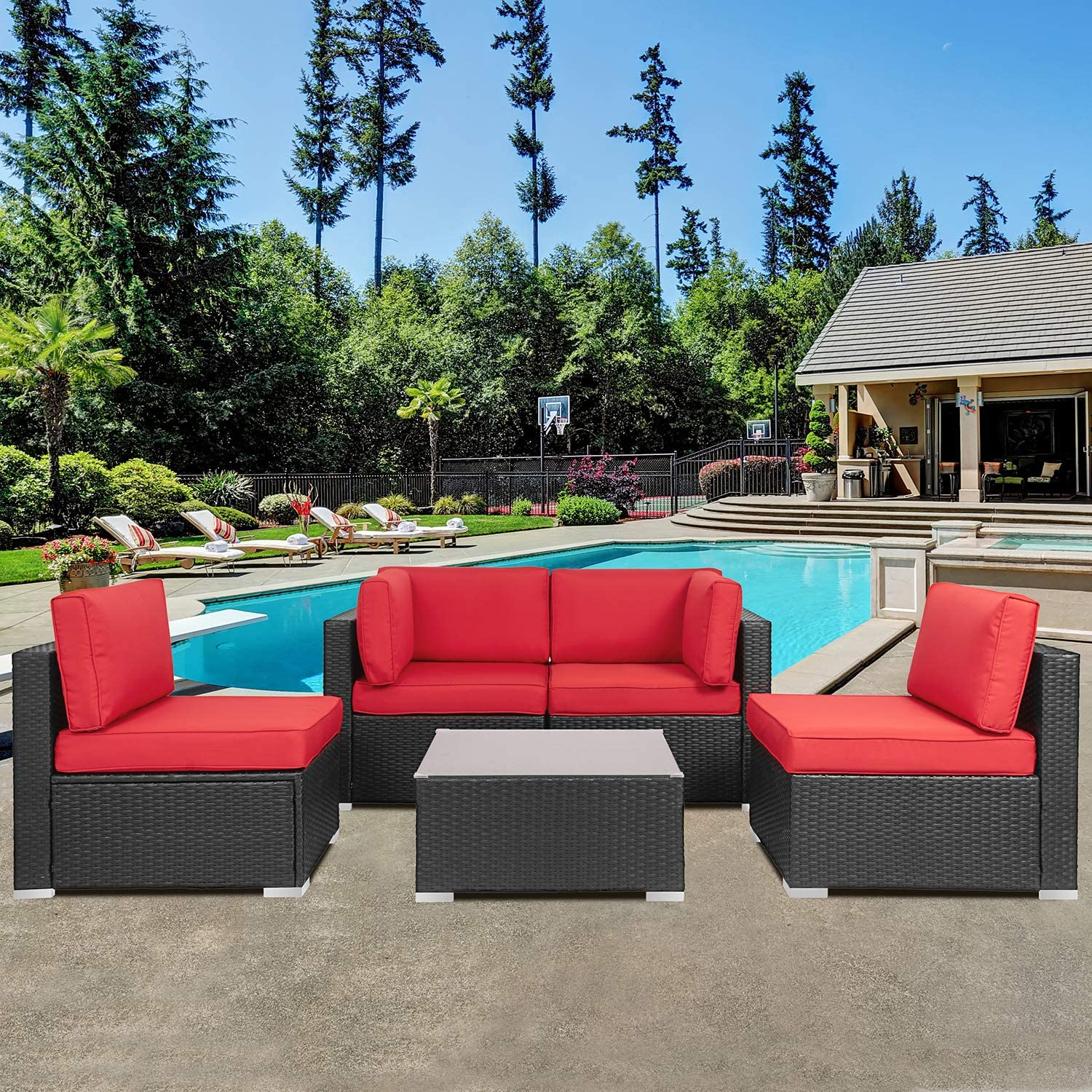 Shintenchi Wicker Rattan Outdoor Patio All Weather Furniture w/Removable Cushions - 5 Pieces Set: Sofa Set & Tea Table [Red]