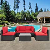 Shintenchi Outdoor Patio Furniture 5 Pieces Sets, All Weather PE Wicker Rattan Patio Conversation Sofa Set Tea Table&Washable