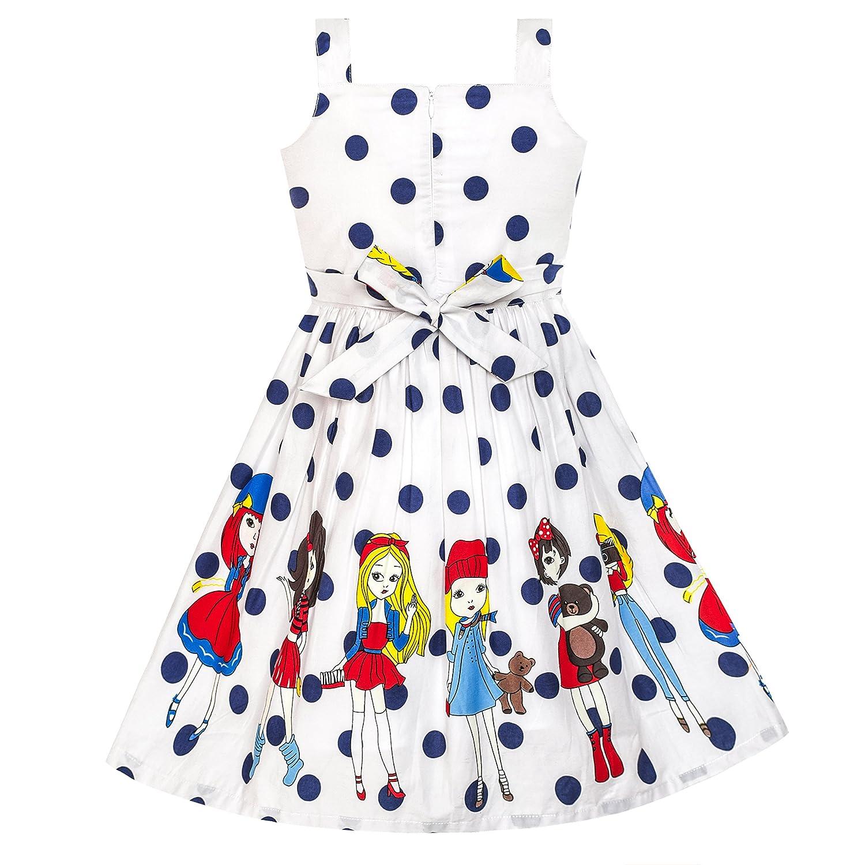Sunny Fashion Vestito Bambina Blu Coccinella Rosa Punto Bambini Capi di Abbigliamento 2-8 Anni