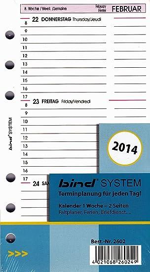 2019 Bind Zeitplaner A6 Kalendarium 1 Woche 2 Seiten 2602