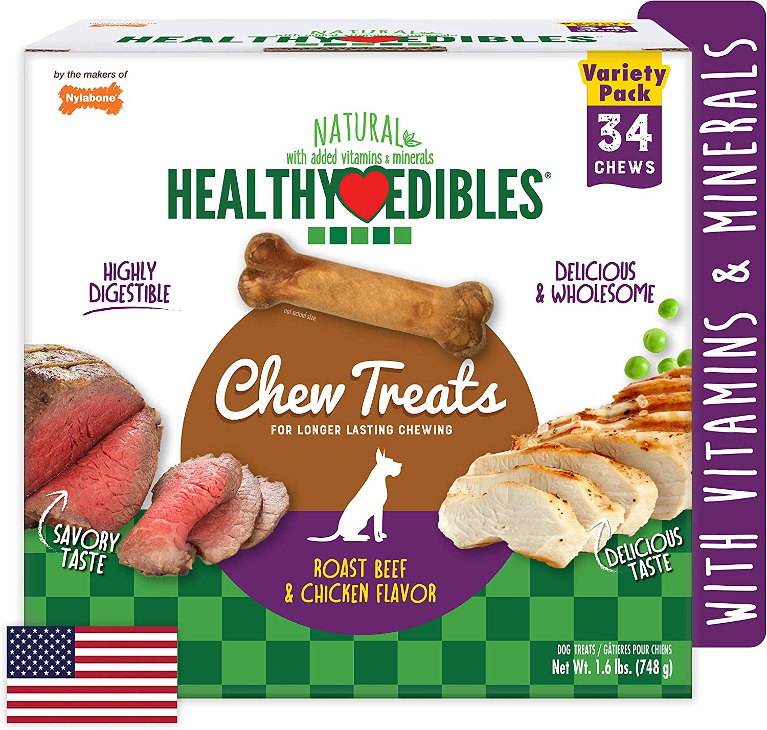 Nylabone Healthy Edibles All-Natural Long Lasting Roast Beef and Chicken Flavor Chew Treats