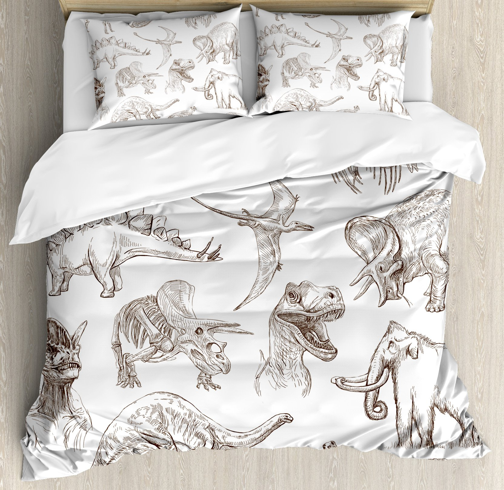 Jurassic Queen Size Duvet Cover Set by Ambesonne, Collection of Various Dinosaurs Illustrations Gigantic Skeleton Biology Historic, Decorative 3 Piece Bedding Set with 2 Pillow Shams, Gold White by Ambesonne