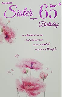 ICG Sister 65th Birthday Card Pink Flowers 9