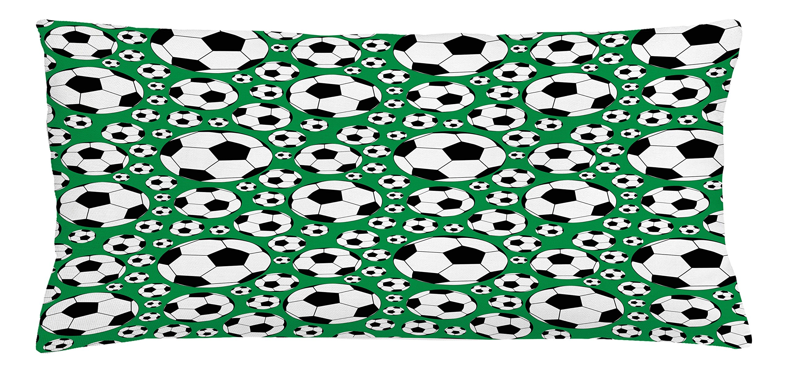 Ambesonne Soccer Throw Pillow Cushion Cover, Various Sizes Footballs Pattern Active Lifestyle Popular Sport from Europe, Decorative Square Accent Pillow Case, 36 X 16 inches, Green Black White
