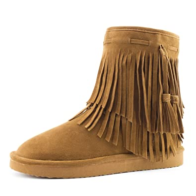 Women's 2 Layer Fringe Fur Lining Faux Suede Ankle Booties (Adults)