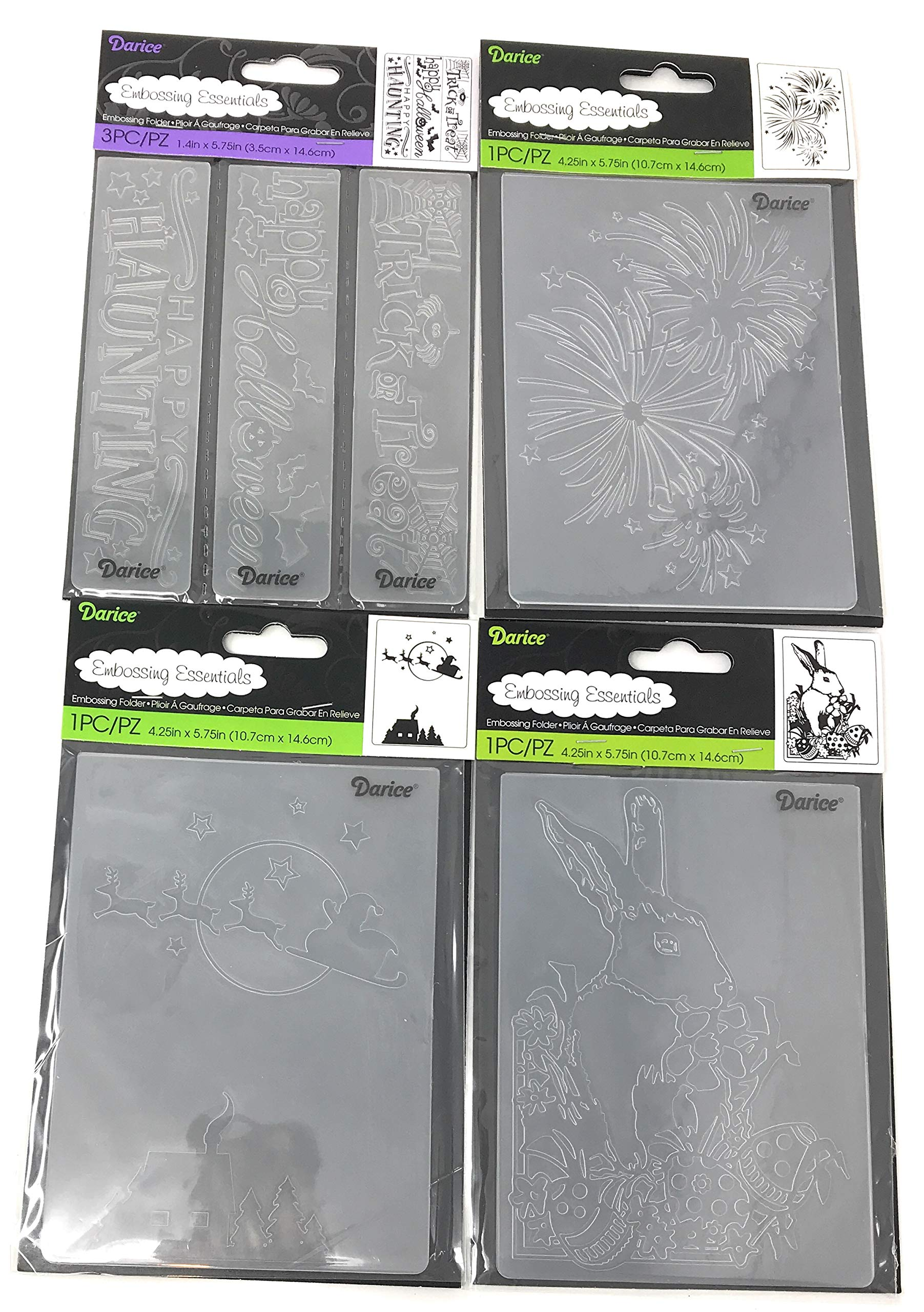 Darice Embossing Folder Borders Holiday Bundle: Christmas, Halloween, 4th of July and Easter, Each 1.4'' x 5.75'' or 4.25'' x 5.75'' (6 Items)