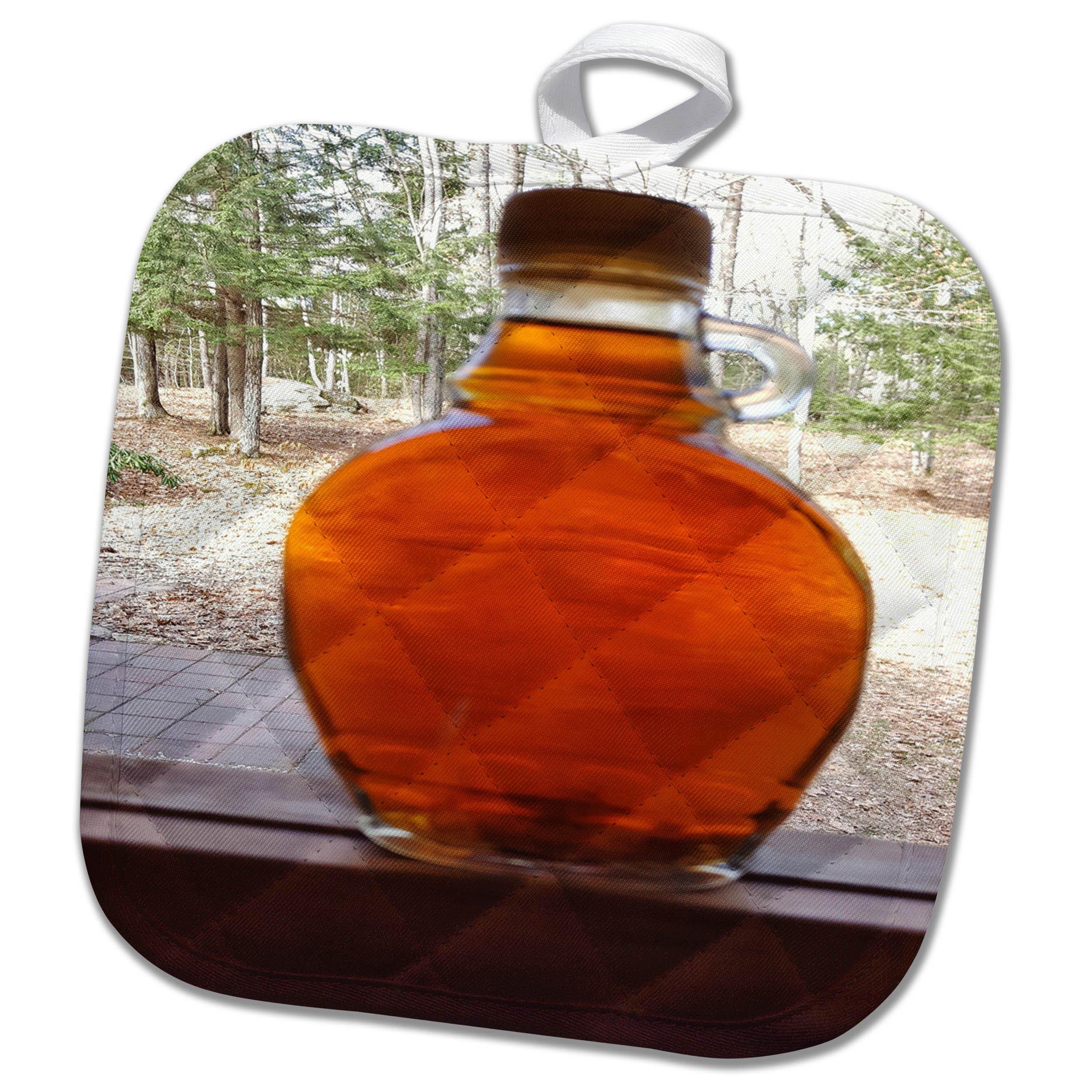 3dRose TDSwhite – Miscellaneous Photography - Maple Syrup Bottle Windowsill - 8x8 Potholder (phl_285357_1)