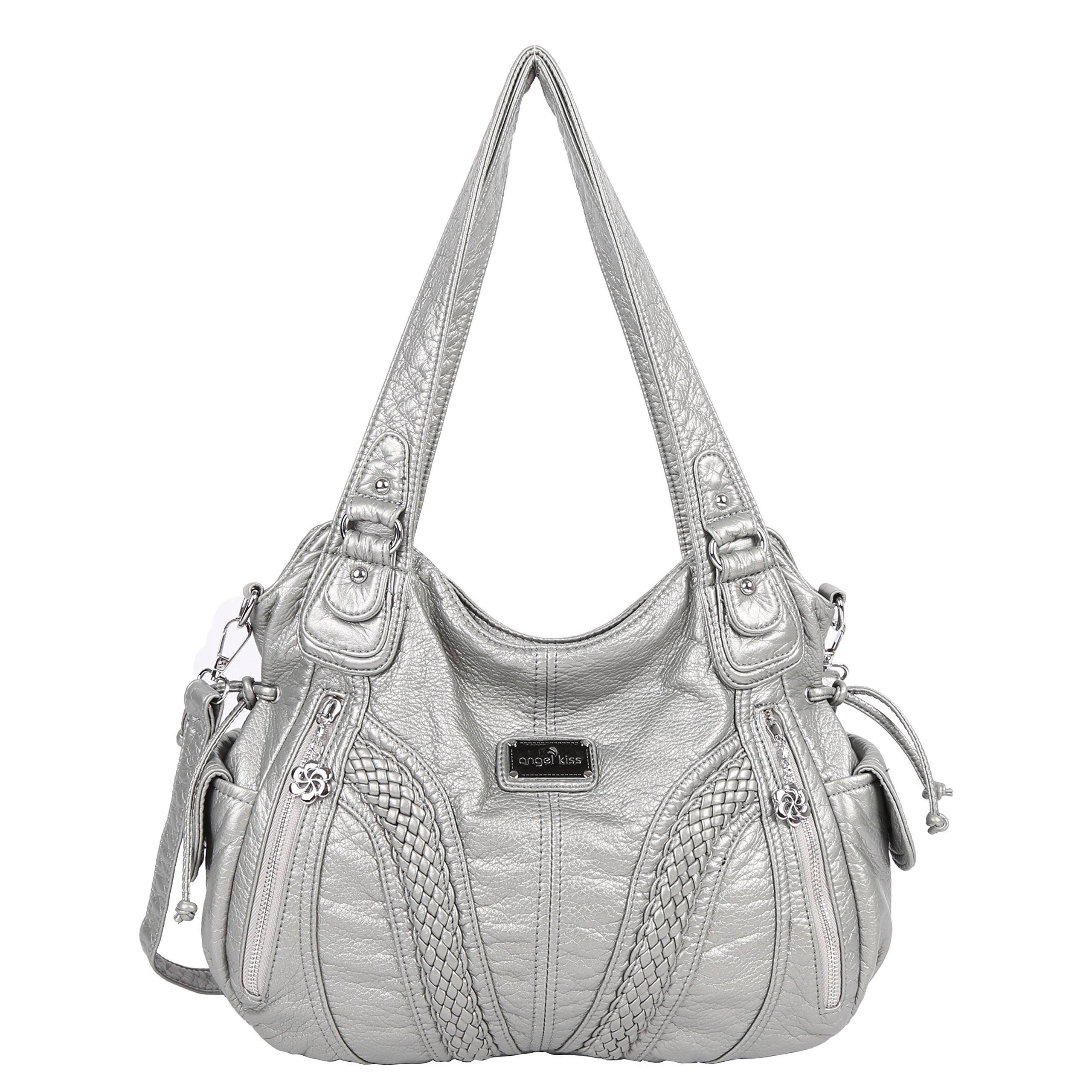 Angelkiss Women Top Handle Satchel Handbags Shoulder Bag Messenger Tote  Washed Leather Purses Bag … 07a4f003f7