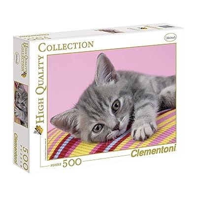 """Clementoni """"Grey Cat Puzzle (500 Piece): Toys & Games"""
