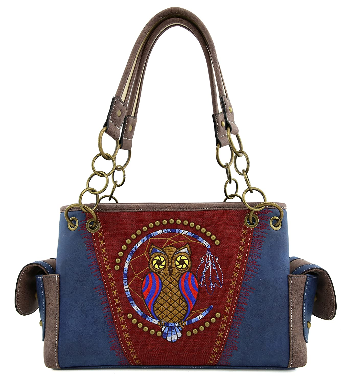 4cdb9481623 Amazon.com  YESIR Western Owl Handbag Purses Tote Bag Shoulder Bag  Rhinestone and Studded (Navy)  Home   Kitchen