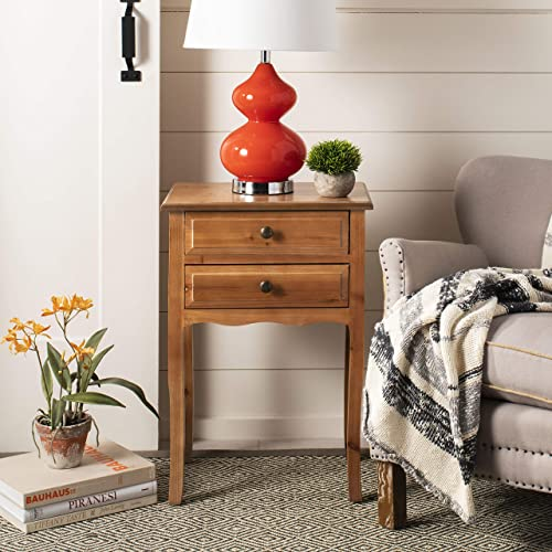 Safavieh Home Collection Lori Red Maple Wood 2-Drawer End Table