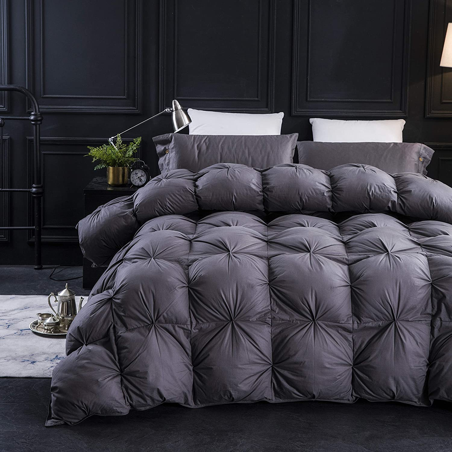 Three Geese Pinch Pleat Goose Down Comforter Queen Size Duvet Insert 750+ Fill Power 100% Cotton Fabric Hypo-allergenic Down Proof with 8 Tabs