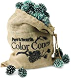 Plow & Hearth Fireplace Color Cones, Festive Fun Rainbow Flame Changing Pine Cones, Firepit Campfire Hearth Wood Burning Accessories for Holidays or Anytime, 2 LB Decorative Burlap Refill Bag