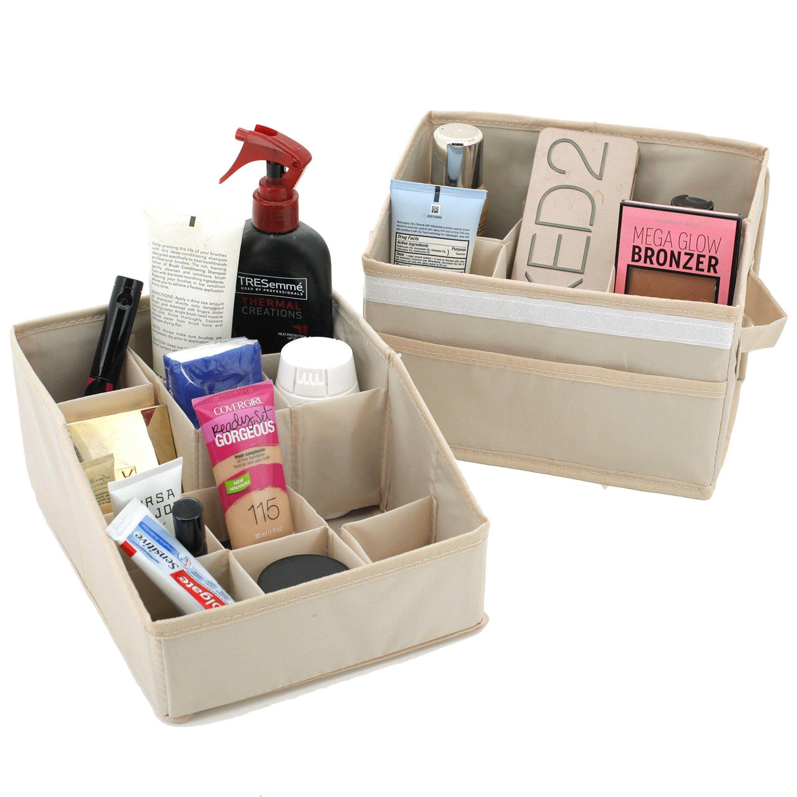 Set of 2- Storage Bins Trays Organization Makeup Lotions for Bathroom Dorms Nursery