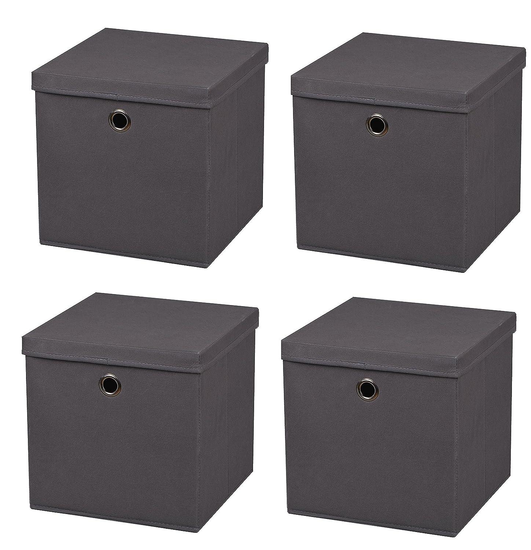 StickandShine - 4 cajas de almacenaje plegables gris claro de 28 x 28 x 28 cm. de tela con tapa.: Amazon.es: Hogar