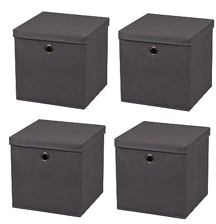 4 Pièce Gris Foncé Boîte Pliante Boxas 28 X 28 X 28 Cm En Tissu Boîte De Rangement Pliable Avec Couvercle Mit Deckel