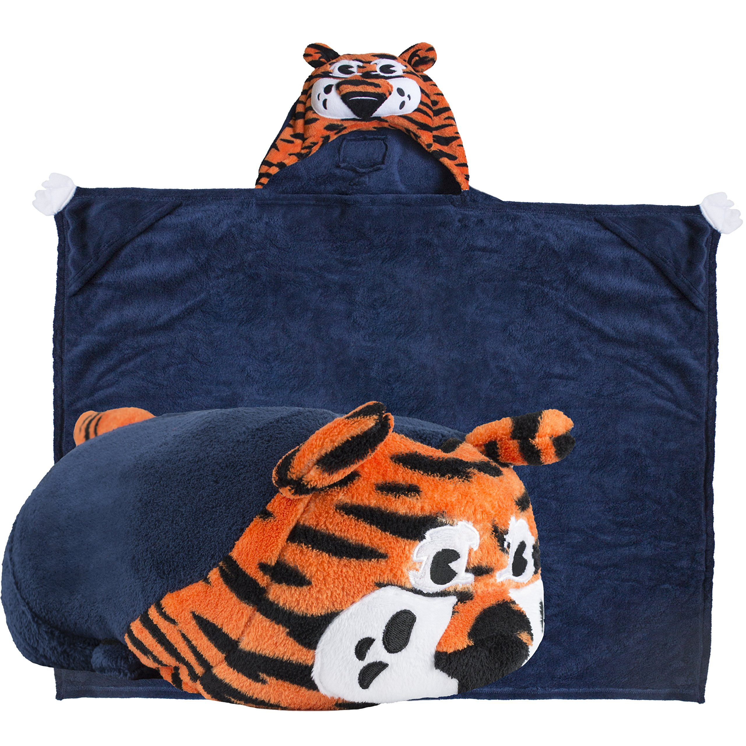Comfy Critters Stuffed Animal Blanket - College Mascot, Auburn University 'Aubie The Tiger' - Kids Huggable Pillow and Blanket Perfect for The Big Game, Tailgating, Pretend Play, and Much More. by Comfy Critters