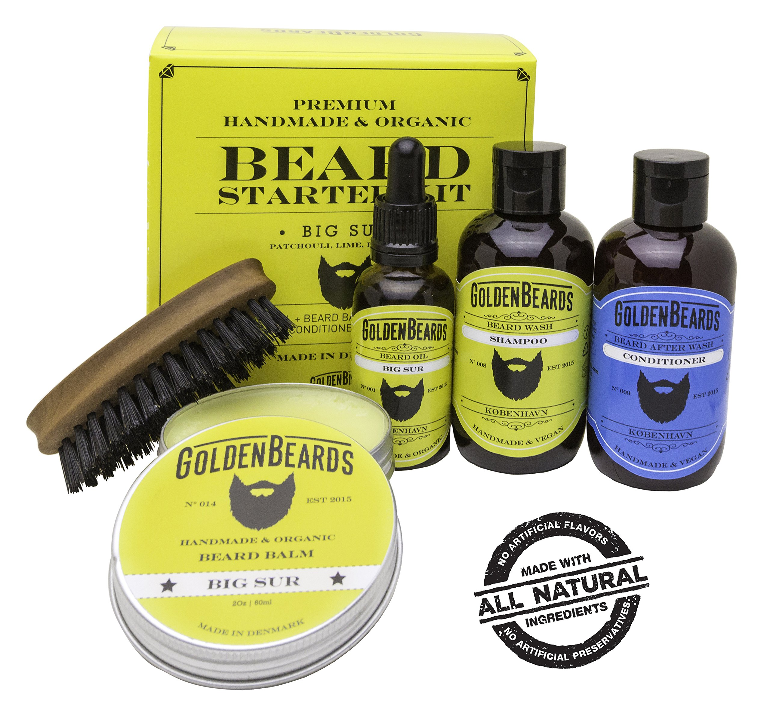 Beard Set Boxed - Organic beard kit for men gift - Beard balm kit for men gift - Organic beard oil and balm beard grooming kit organic beard oil and comb kit - Big Sur Golden Beards