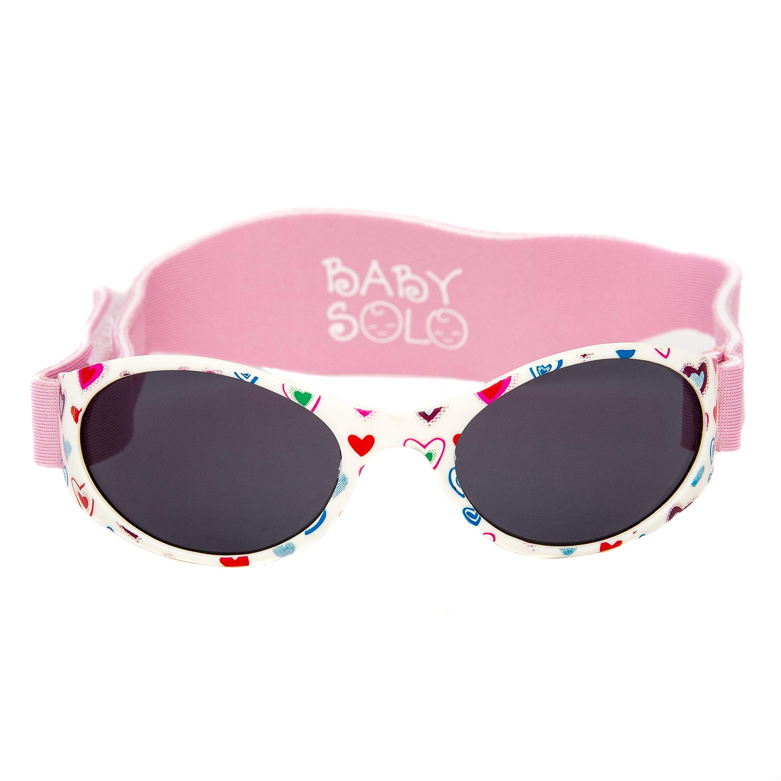 Baby Solo Babyfarer Baby Toddler Sunglasses/Infant Newborn Sunglasses (0-36 months, Cutie Pink Heart Frame w/Solid Black Lens)