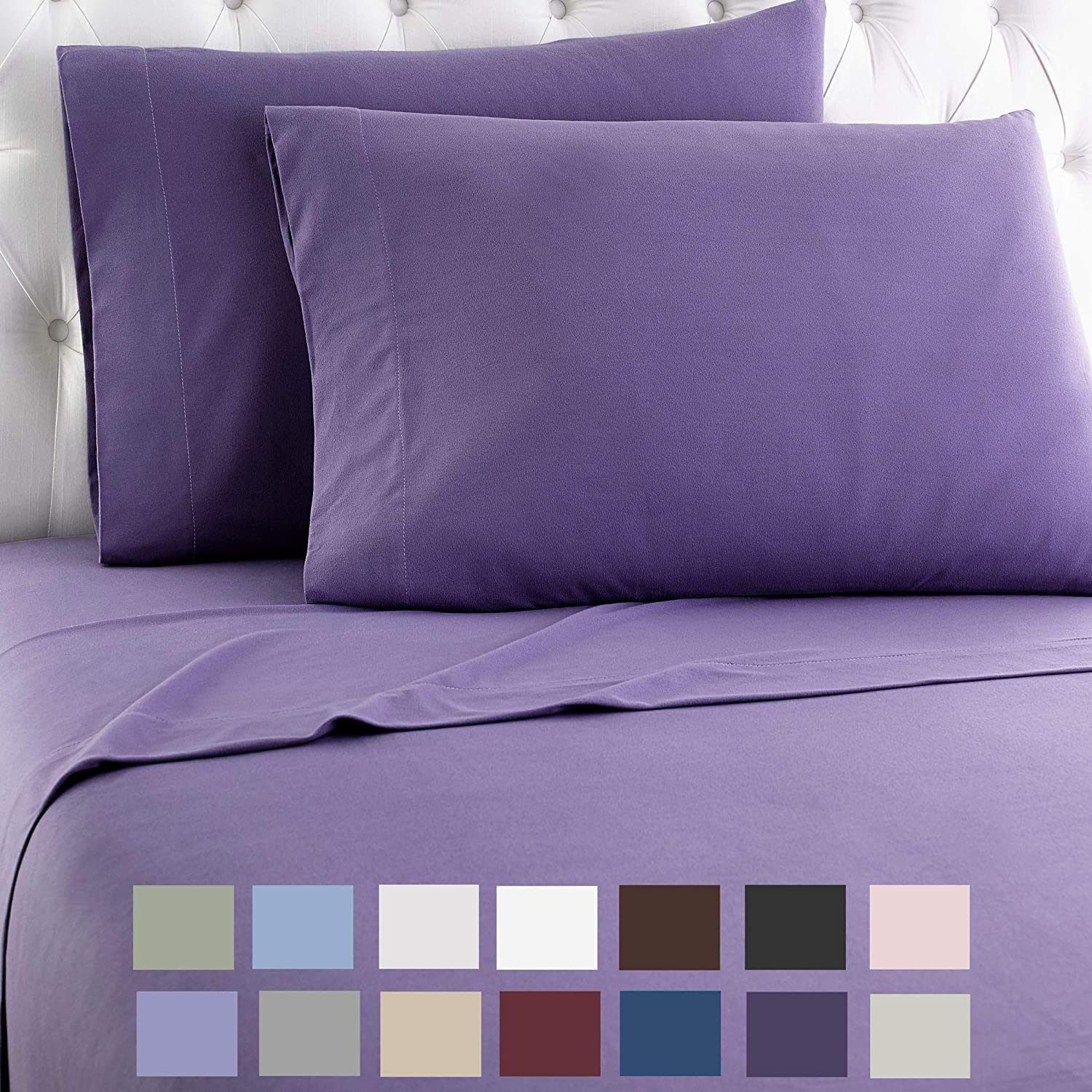 Thermee Micro Flannel Shavel Home Products Sheet Set, Queen, Purple