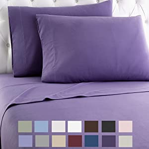 Thermee Micro Flannel Shavel Home Products Sheet Set, King, Purple