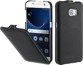 StilGut Housse pour Samsung Galaxy S7 en Cuir véritable et à Ouverture Verticale clipsée, Noir Nappa